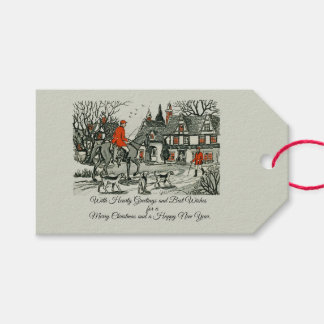 Vintage Victorian Jolly Christmas Hearty Wishes Gift Tags