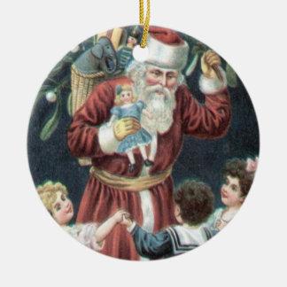 Vintage Victorian Jolly Santa Christmas Tree Round Ceramic Decoration