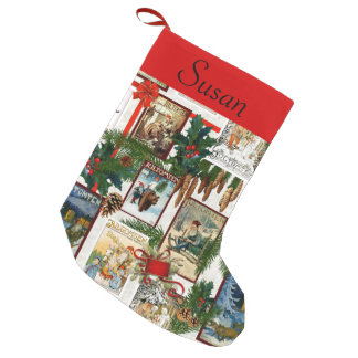 Vintage Victorian Jultomten Illustrations Monogram Small Christmas Stocking