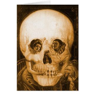 Vintage Victorian Kitsch Skull Optical Illusion Card