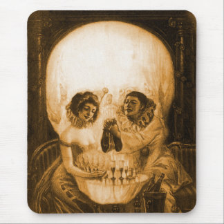 Vintage Victorian Kitsch Skull Optical Illusion Mouse Pads