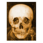 Vintage Victorian Kitsch Skull Optical Illusion Postcard