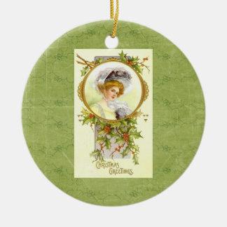 Vintage Victorian Lady Christmas Greetings Round Ceramic Decoration
