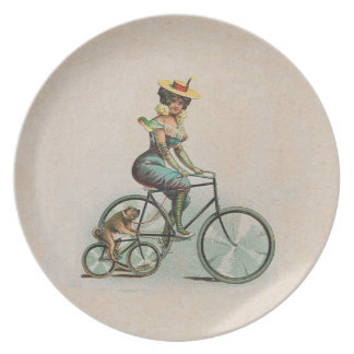 Vintage Victorian Lady Dog Bicycle Plates