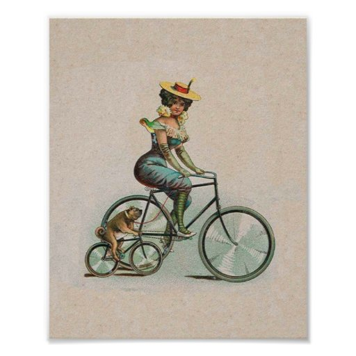 Vintage Victorian Lady Dog Bicycle Poster