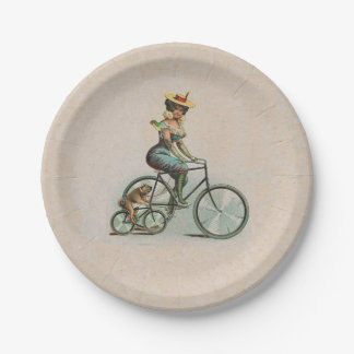 Vintage Victorian Lady Dog Bicycle 7 Inch Paper Plate