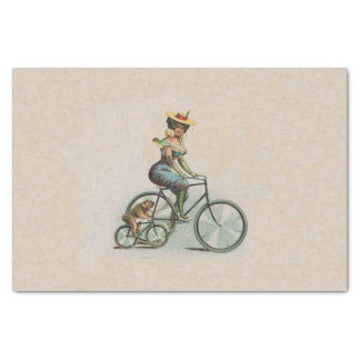 Vintage Victorian Lady Dog Bicycle Tissue Paper