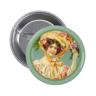 Vintage Victorian Lady Easter Bonnet 6 Cm Round Badge