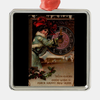 Vintage Victorian Lady Happy New Year Ornament