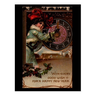 Vintage Victorian Lady Happy New Year Postcard