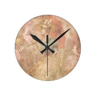 Vintage Victorian Lady Print Clock