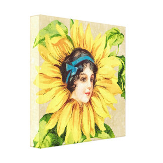 Vintage Victorian Lady Summer Sunflower With Name Canvas Print
