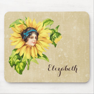 Vintage Victorian Lady Summer Sunflower With Name Mouse Pad