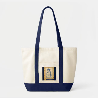 Vintage Victorian Lady with Sign in Blue Bag