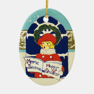 Vintage Victorian Merrie Christmas New Year Ceramic Ornament