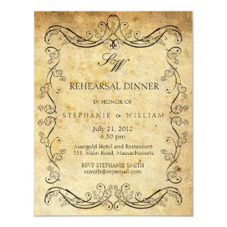 Vintage Victorian Monogram Rehearsal Dinner Card 11 Cm X 14 Cm Invitation Card