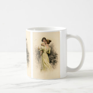 Vintage Victorian Mother Child Toddler Girl Basic White Mug