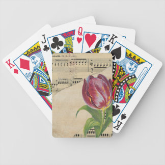 Vintage Victorian Music Romance Tulips Bicycle Playing Cards