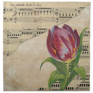 Vintage Victorian Music Romance Tulips Napkin