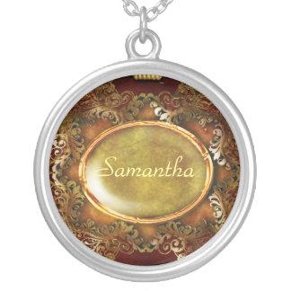 Vintage victorian name elegant round pendant necklace