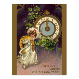 Vintage Victorian New Years Eve, Clock at Midnight Postcard