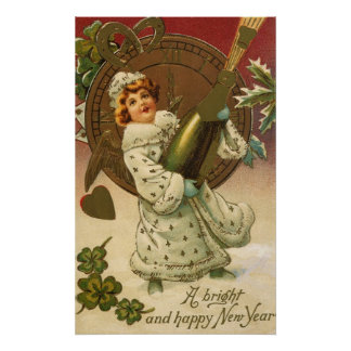 Vintage Victorian New Years Eve Girl and Champagne Poster