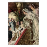 Vintage Victorian Newlywed Bride Tossing Bouquet Greeting Card