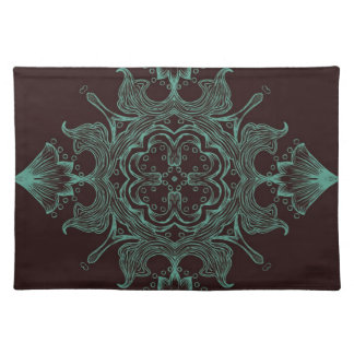 Vintage Victorian Ornament Teal & Brown Background Place Mats