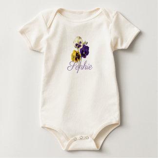 Vintage/Victorian Pansies Personnalised Baby Bodysuit