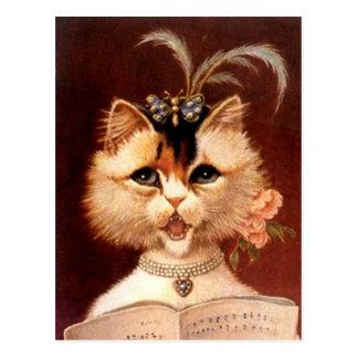Vintage Victorian Partor Cat in Jewels Postcard