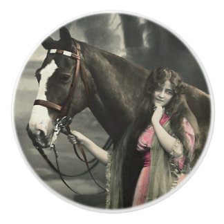Vintage Victorian Photograph Lady Pink Dress Horse Ceramic Knob
