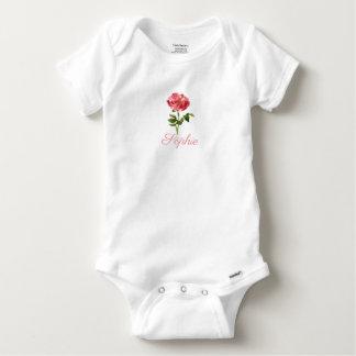 Vintage/Victorian Pink Flower Personnalised Baby Onesie