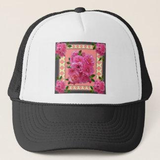 vintage victorian pink rose pattern art trucker hat