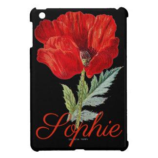 Vintage/Victorian Poppy Flower Personnalised iPad Mini Cover