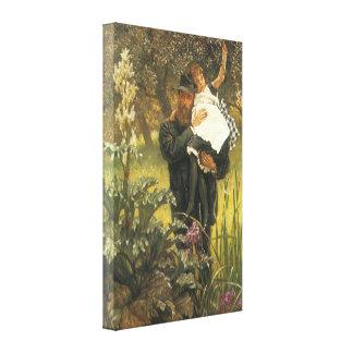Vintage Victorian Portrait Art, Widower by Tissot Stretched Canvas Print