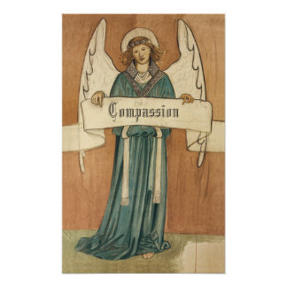 Vintage Victorian Pre-Raphaelite Angel with Scroll Posters