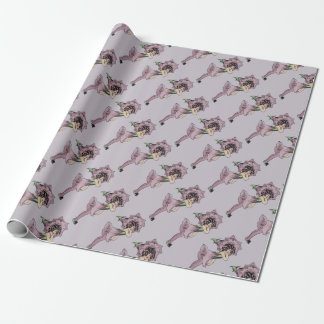 Vintage/Victorian Pretty Purple Flower Fairy Wrapping Paper