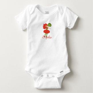 Vintage/Victorian Red Flower Fairy Personnalised Baby Onesie