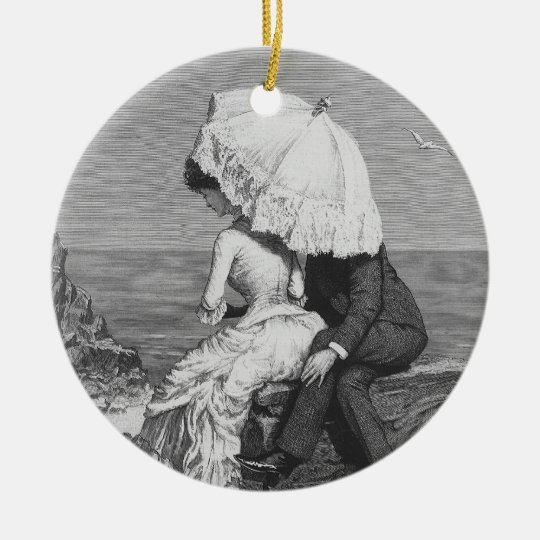Vintage Victorian Romantic Couple by Beach Ceramic Ornament