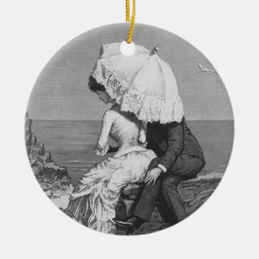 Vintage Victorian Romantic Couple by Beach Round Ceramic Decoration