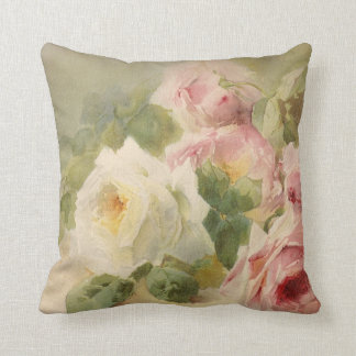 Vintage Victorian Rose Watercolor Cushion