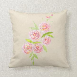 Vintage Victorian Rose Watercolor Cushion