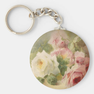 Vintage Victorian Rose Watercolor Key Ring