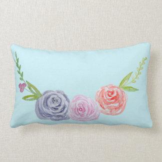 Vintage Victorian Rose Watercolor Lumbar Cushion