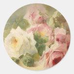 Vintage Victorian Rose Watercolor Round Sticker