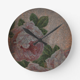 Vintage Victorian | Roses Floral Leather Look Wallclocks
