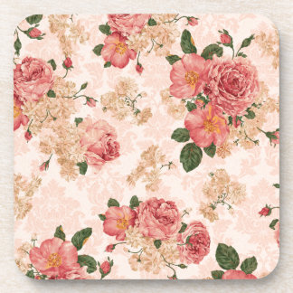 Vintage Victorian Roses on Pink Damask Drink Coaster