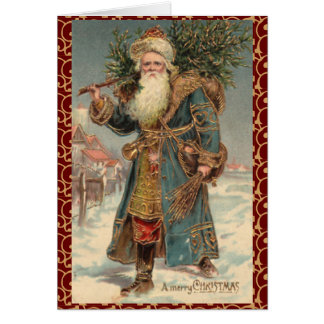 Vintage Victorian Rustic Santa Christmas Card