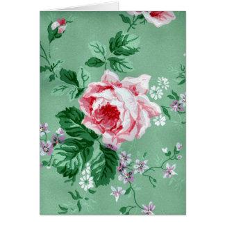 Vintage Victorian Sage Green Floral Wallpaper Card