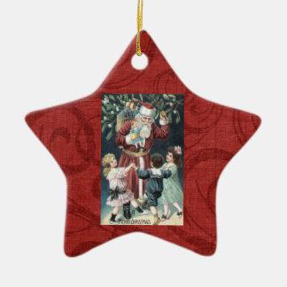 Vintage Victorian Santa Children Christmas Tree Or Ceramic Star Decoration